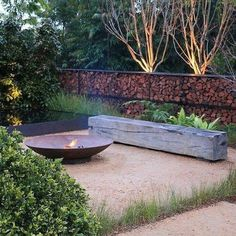 Garden Design Designed by Christopher Owen Landscape Design. Silver Medal winning garden 'Tread Lightly' at the Australian Garden Show Sydney. Garden Fire Pit, Fire Pit Backyard, Back Yard Fire Pit, Fire Pit On Grass, Fire Pit Logs, Wood Fire Pit, Steel Fire Pit, Fire Fire, Fire Pit Area