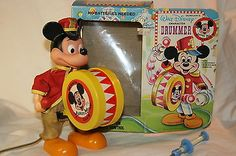 Vintage-Walt-Disney-Mickey-Mouse-Drummer-Animated-Toy-w-Box-Durham-Works-NR