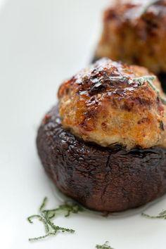 Turkey Sausage Stuffed Mushrooms / @DJ Foodie / DJFoodie.com
