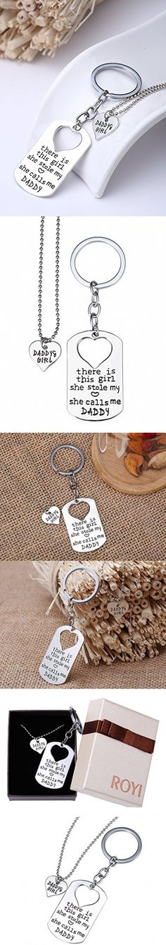 Dad Gifts from Daughter, Father Daughter Keychain Jewelry Daddys Girl Necklace Set, There's This Girl Who Stole My Heart She Calls Me Daddy by ROYI