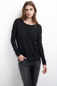 VELVET By Graham & Spencer Sybil Waffle Knit Hi Low Sweater Top Black S $128 #VelvetbyGrahamSpencer #Sweatshirt #Casual