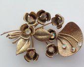 Vintage Rhinestone Flowers Leaves Pin Brooch - Gold Tone Hardware