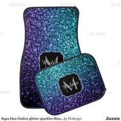 Aqua blue Ombre glitter sparkles Monogram Car Mats Set by #PLdesign #BlueSparkles #SparklesGift