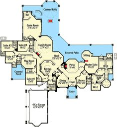 4 Kids rooms and a playroom Plan Chateau Masterpiece. This is another fabulous single story 5 bedroom with lots of flex space. Luxury House Plans, Dream House Plans, House Floor Plans, My Dream Home, The Plan, How To Plan, Covered Walkway, Master Suite, Master Bath