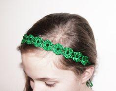 Emerald Green Crochet Headband  Green Lace Beaded by KeraSoftwear