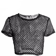 Fishnet Short Sleeve Crop Top Shop Elettra ($29) ❤ liked on Polyvore featuring tops, crop tops, shirts, fishnet shirt, cami top, fishnet top, short-sleeve shirt and fishnet crop top