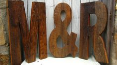 large decorative letters made from salvaged wood