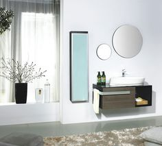 Pretty Small Modern Bathroom Vanities Design using Wooden Material Completed with Oval Wall Mirror Design Ideas