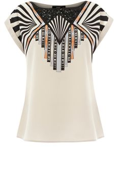 intrigued by the art deco feel of this blouse, especially on sleeves and shell like design in front, Tribal Placement T-Shirt