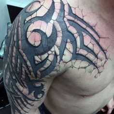 Unique Over The Shoulder Tattoos - Shoulder Tattoos For Men: Best Shoulder Tatto., Unique Over The Shoulder Tattoos - Shoulder Tattoos For Men: Best Shoulder Tattoo Ideas and Cool Designs For Guys - Chest, Arm, and Back Shoulder Tatt. 3d Tribal Tattoo, Tribal Tattoo Designs, Tribal Arm Tattoos For Men, Cover Up Tattoos For Men, Chest Tattoos For Women, Arm Tattoos For Guys, Tribal Tattoo Cover Up, Tribal Cover Up, Schulterpanzer Tattoo