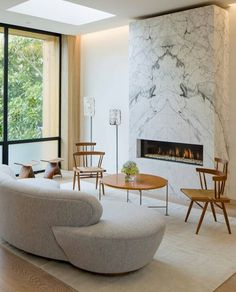 Bookmatched marble fireplace