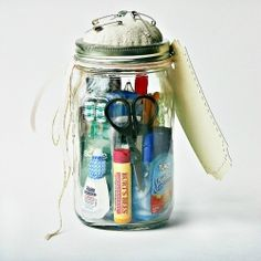 "Ensure that the bride has everything she needs on her special day.  Make her a ""Wedding Day Emergency Kit.""  (In a mason jar, of course!)"