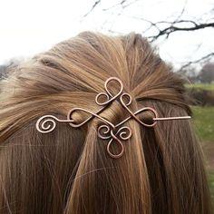 Celtic knot Celtic hair slide Rustic copper hair holder Metal hair pin Boho hair barrette Women hair accessories Womens gift Hair clip