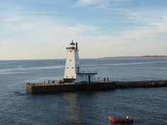 Ludington, MI breakwater Lighthouse, as seen from the SS Badger Car Ferry.  Lake Michigan.