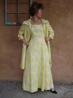 1960s Yellow Metallic Brocade Evening Dress and by bycinbyhand, $165.00