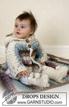 Dit DROPS setje bestaat uit: Vestje, dekentje en slofjes. ~ DROPS Design - Crochet hooded baby cardigan, baby blanket and booties