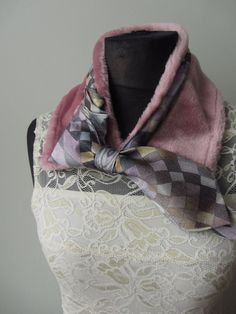 Upcycled Pink Faux Fur Necktie Collar / by GarageCoutureClothes, $24.00