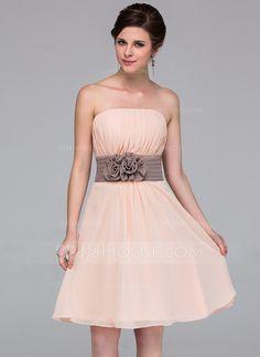 Lilac with either ivory (to match groomsmen) or sage sash  Bridesmaid Dresses - $87.49 - A-Line/Princess Strapless Knee-Length Chiffon Bridesmaid Dress With Sash Flower(s) (007037256) http://jjshouse.com/A-Line-Princess-Strapless-Knee-Length-Chiffon-Bridesmaid-Dress-With-Sash-Flower-S-007037256-g37256?ver=1