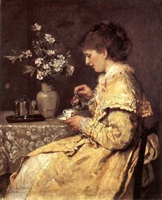 Woman at the Breakfast Table - Otto Scholderer - (German: Pierre Auguste Renoir, Vintage Family Pictures, Tea Art, Victorian Art, Art Themes, Vintage Tea, Vintage Ladies, Beautiful Paintings, Art Inspo