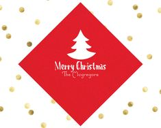 Christmas Party Napkins Beverage Napkins Foil Monogrammed Napkins Christmas Napkins Holiday Cocktail Napkins Holiday Party Goods Gifts by SipHipHooray