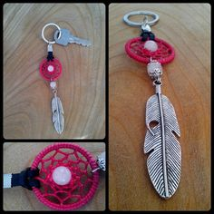 Dreamcatcher keychain with natural pink quartz by LDreams on Etsy