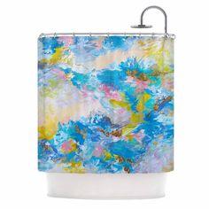 "Ebi Emporium ""When We Were Mermaids"" Blue Yellow Shower Curtain"