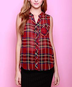 Another great find on #zulily! Black & Red Plaid Sleeveless Button-Up Top #zulilyfinds