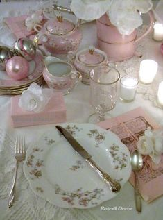 Gorgeous pink china (tea set and small dishes)---wish I knew what that pattern was!