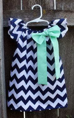 Navy Mint Green Chevron Bow Peasant Dress  by MooseBabyCreations, $27.50