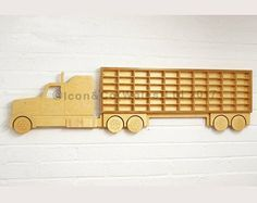 Toy Car 'Truck' Shelf, Model Car Shelving Unit, American Style Lorry Shape Storage Display. Holds 60+ Cars. Varnished Laquered Birch Plywood