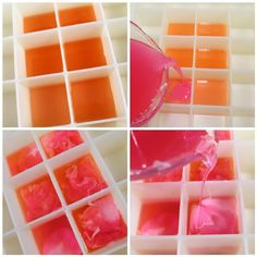 Pouring the orange, pink and light pink soap.