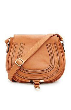 DAILYLOOK Classic Vegan Leather Saddlebag Purse in Camel   DAILYLOOK