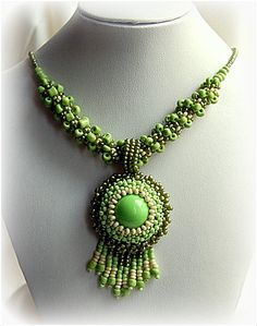 Green Pendant Necklace Statement Beadwork Necklace Seed by Szikati
