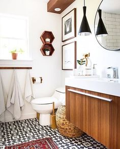So much to love in this bathroom reveal for the One Room Challenge. The in stock Cambridge pattern is on the floor. #Repost @place_ofmy_taste ・・・ If you missed seeing my bathroom reveal today on the blog hop over and check out the details. I am obsessed with this bathroom and all I want to do is to soak in my new bathtub for a week haha@oneroomchallenge #oneroomchallenge @housebeautiful #Interiordesign #cementtileshop #cementtiles #cementtile #concretetile #hydraulictiles #patternedtiles…