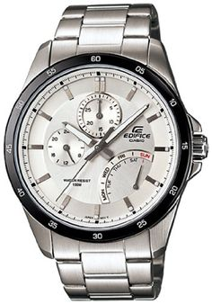 Casio Men s Silver Stainless-Steel Quartz Watch with White Dial. 17cf77d205