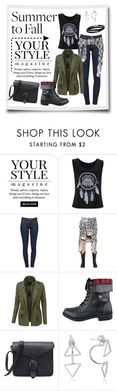 """""""Summer to fall outfit"""" by fashion-film-fun ❤ liked on Polyvore featuring Pussycat, Frame Denim, Faith Connexion, LE3NO and Phillip Gavriel"""
