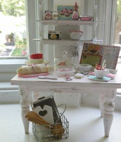 Miniature Shabby Pink Vintage Kitchen Set - Cynthia's Cottage Shop on Etsy $110.00