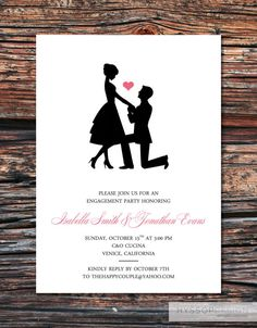 Printable/DIY - Sweet Silhouette Proposal Engagement Party Invitations.