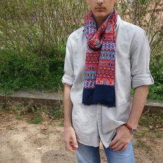 Fular hombre rojo marino moda sostenible Look by LyLy Plaid Scarf, Fashion, Sustainable Fashion, Scarves, Red, Men, Sailor, Moda, Fashion Styles