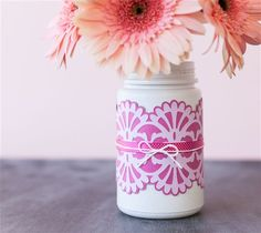 Wrapped DIY Jar, Flower Vase Decor: (Made with Cricut Explore)  Make a gorgeous floral centerpiece with an intricately-cut jar wrap! This project includes images from Cricut® Anna's Lace Cards and Embellishments digital cartridge.  xoxo, Anna Rose