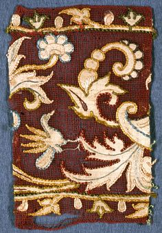 Fragment, 16th–17th century Medium: linen, silk Technique: appliqué and embroidery on gauze weave.