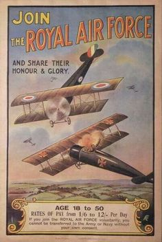 Vintage 1920/'s Royal Air Force RAF Recruitment Poster  A3 Print