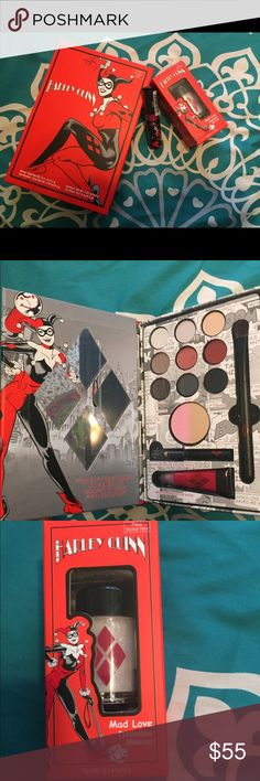 "Limited edition Harley Quinn collection DC Comics Harley Quinn 1. palette with 9 eyeshadows, blush/bronzer duo, brush, eyeliner, and lipgloss 2. Eyeshadow shimmer in ""Mad Love"" 3. Lipstick in ""HarleQuin Red"" all three together for $55. palette alone $38, shadow alone $12.95, and lipstick for $12.95 Makeup"