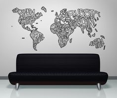 Vinyl Wall Decal Sticker Country Names Design 5078s by Stickerbrand on Etsy