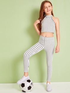 To find out about the Girls Striped Crop Halter Top & Leggings Set at SHEIN, part of our latest Girls Two-piece Outfits ready to shop online today! Preteen Girls Fashion, Girls Fashion Clothes, Teen Fashion Outfits, Kids Fashion, Cute Girl Outfits, Kids Outfits Girls, Cool Outfits, Sport Mode, Kids Dress Wear