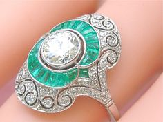 www.MelsAntiqueJewelry.com ESTATE ART DECO .96ct BRILLIANT DIAMOND .70ctw EMERALD PLATINUM COCKTAIL RING #Handmade #ARTDECOCOCKTAILENGAGEMENT