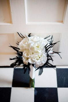 B Rose and feather hand tied bouquet