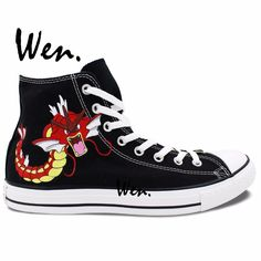 62.56$  Buy now - http://aliirs.worldwells.pw/go.php?t=32642385466 - Wen Design Custom Hand Painted Anime Shoes Pokemon Carp Pocket Monster Gyarados Magikarp High Top Woman Man's Canvas Sneakers