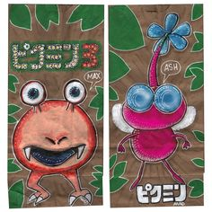 20130826 Sketch lunch bags for my sons.  #pikmin#videogames#art#drawing#anad#school#lunchbags#bulborb#japan#paint#markers#pikmin3
