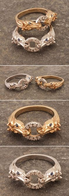 14k White or Yellow Gold Horse Heads Ring